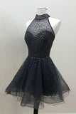 Black Beaded A-line High Neck Organza Homecoming Dress Sweet 16 Dress, SH419