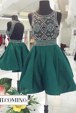 Dark Green Beaded A-line Backless Homecoming Dresses | Short Prom Dress, SH427