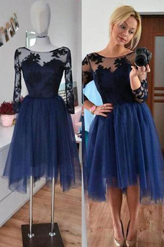 Navy Homecoming Dresses,3/4 Sleeves Short Prom Dresses,Simple Party Dresses,SH42