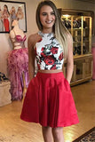 Cute Red Floral Print A-line Two Piece Halter Homecoming Dresses with Pockets, SH430