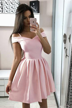 Pink Satin A-line Off-the-shoulder Homecoming Dresses | Short Party Dresses, SH431