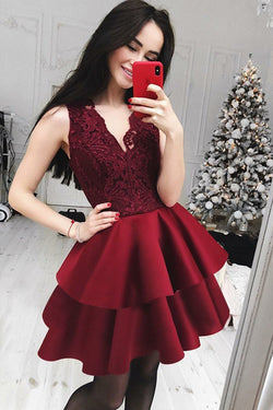 Burgundy Lace Satin A-line V-neck Cute Homecoming Dresses | Short Prom Dress, SH432