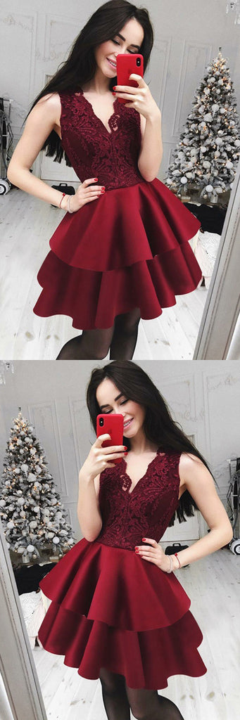 www.simidress.com | Burgundy Lace Satin A-line V-neck Cute Homecoming Dresses | Short Prom Dress, SH432