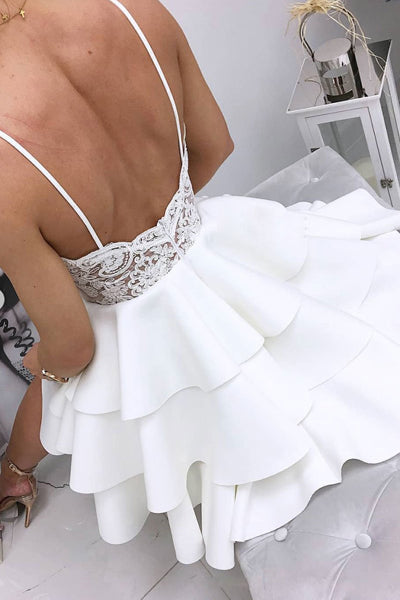 www.simidress.com | White V-neck Lace Satin A-line Cute Short Prom Dresses | Homecoming Dresses, SH433