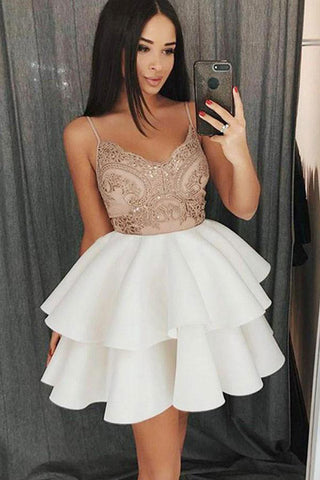 White Satin Spaghetti Straps Sweetheart Lace Short Prom Dress, Homecoming Dress, SH434