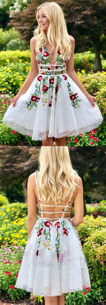 www.simidress.com | Simple White Lace V-neck Homecoming Dresses with Appliques | Short Prom Dress, SH436