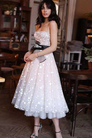 Pearl Pink Tulle Beaded A-line Spaghetti Strap Tea Length Homecoming Dresses, SH437