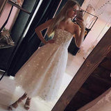 simidress.com | Pearl Pink Tulle Beaded A-line Spaghetti Strap Tea Length Homecoming Dresses, SH437