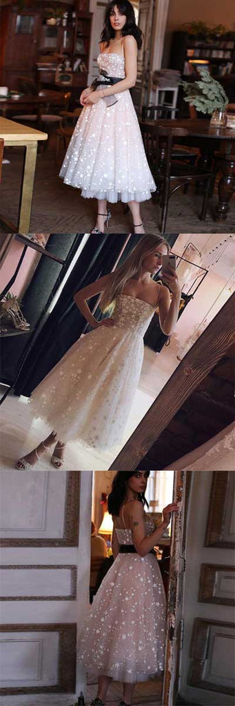 Find cheap Pearl Pink Tulle Beaded A-line Spaghetti Strap Tea Length Homecoming Dresses, SH437 at www.simidress.com