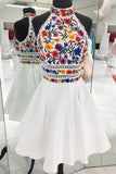 White Satin A-line Floral Short Homecoming Dresses | Graduation Dresses, SH440