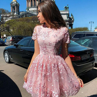 simidress.com | Pink A-Line Short Sleeves Homecoming Dresses | Graduation Dress with Lace Appliques, SH445