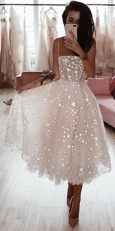simidress.com | Pearl Pink Tulle A-line Spaghetti Straps Tea Length Beaded Homecoming Dress, SH446