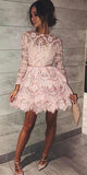 Cheap Pink Lace Above Knee Long Sleeve High Neck Homecoming Dresses, SH447 | www.simidress.com
