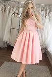 Charming Pink Lace Mid-length Modest Homecoming Dresses Wedding Guest Dress, SH448