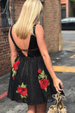 simidress.com offer Black Lace Floral Embroidered Junior Homecoming Dresses | Short Party Dresses, SH449