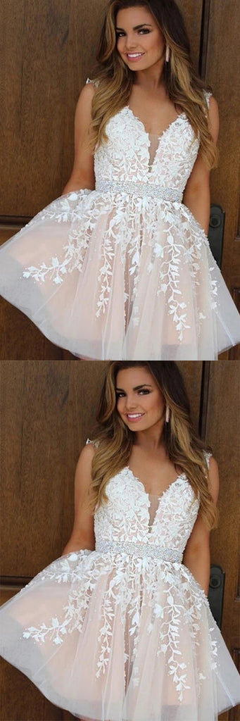 simidress.com | Cute Tulle A-line V-neck Beaded Cheap Homecoming Dresses With Appliques, SH453
