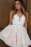 Cute Tulle A-line V-neck Beaded Cheap Homecoming Dresses With Appliques, SH453
