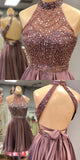 www.simidress.com | Charming Beaded A-line Halter Neckline Open Back Homecoming Dresses, SH454