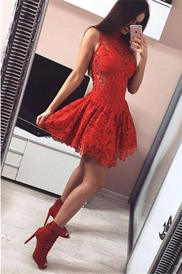 Elegant Red Lace A-line High Neck Open Back Homecoming Dresses | Short Prom Dress, SH455