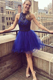 www.simidress.com | Glamorous Royal Blue A-line Beaded High-neck Homecoming Dresses, SH456