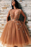 Unique Ball Gown V-neck Tulle Sleeveless Homecoming Dresses | Short Party Dress, SH459