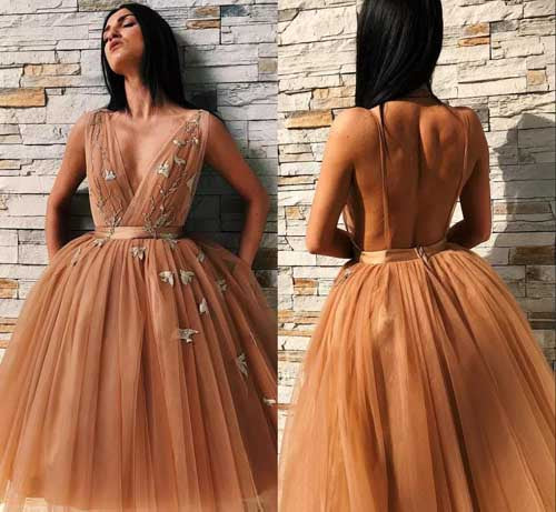 simidress.com | Unique Ball Gown V-neck Tulle Sleeveless Homecoming Dresses | Short Party Dress, SH459