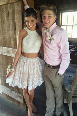 bcc22a4212ab Two Piece Short White Lace Prom Dress with Pearls,Short Homecoming Dresses ,SH45