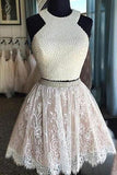Two Piece Short White Lace Prom Dress with Pearls,Short Homecoming Dresses,SH45