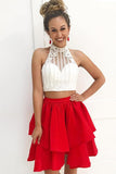 Charming Two Piece A-line High Neck Red Homecoming Dresses Cocktail Dress, SH460