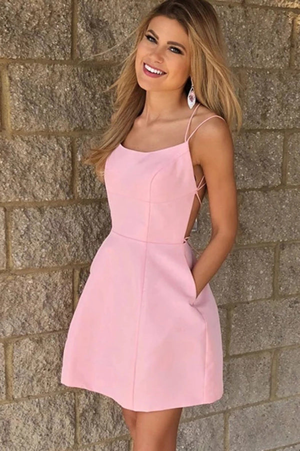 Simple Pink A-Line Spaghetti Straps Homecoming Dresses With Pockets, SH465