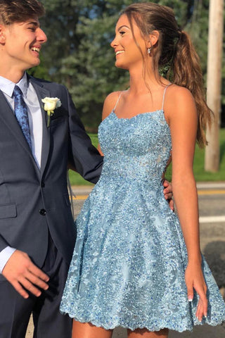 Charming Sky Blue A-line Lace Spaghetti Straps Homecoming Dresses, Short Prom Dress, SH467