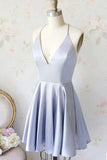 Simple Mini Satin A-line V-neck Homecoming Dresses, Short Prom Dress, SH469
