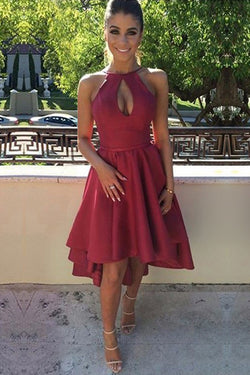 Satin A-line Scoop Neck Burgundy Backless High Low Short Prom Dresses,SH46