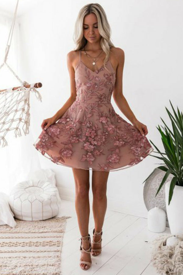 Charming Blush A-Line Homecoming Dresses, Short Prom Dress with Appliques, SH471