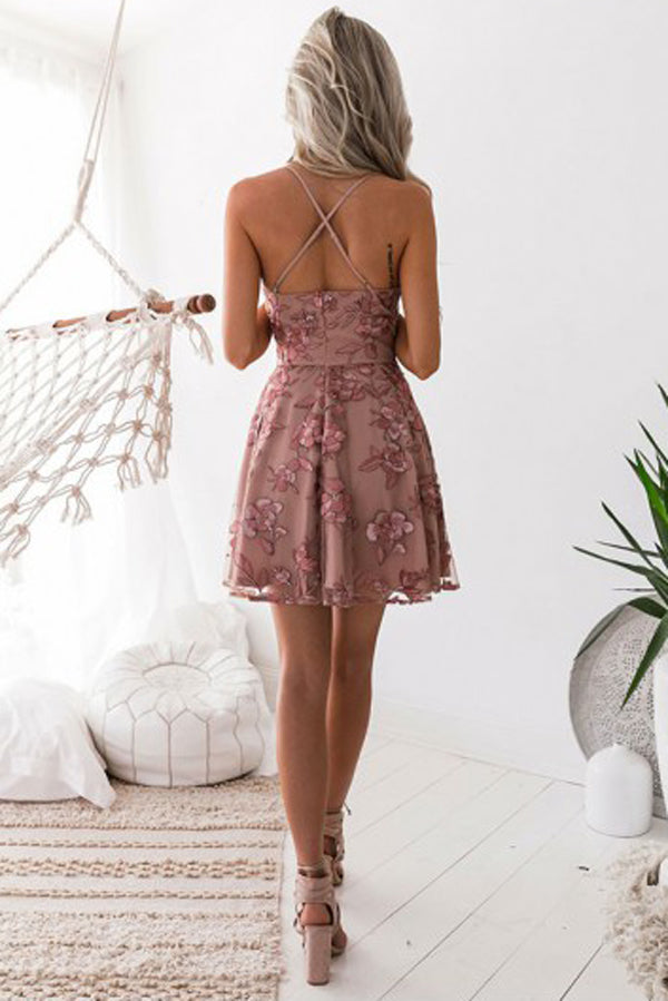 Charming Blush A-Line Homecoming Dresses, Short Prom Dress with Appliques, SH471 | simidress.com