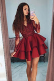 Hot Sale Burgundy Long Sleeves Lace V Neck Homecoming Dresses, Short Prom Dress, SH472
