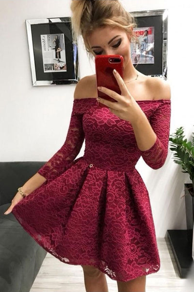 Cute Burgundy Lace Off-the-Shoulder Long Sleeves Homecoming Dresses, SH473