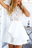 Elegant Floral Lace A-line High Neck Homecoming Dresses, Short Prom Dress, SH474