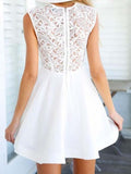 www.simidress.com | Elegant Floral Lace A-line High Neck Homecoming Dresses, Short Prom Dress, SH474