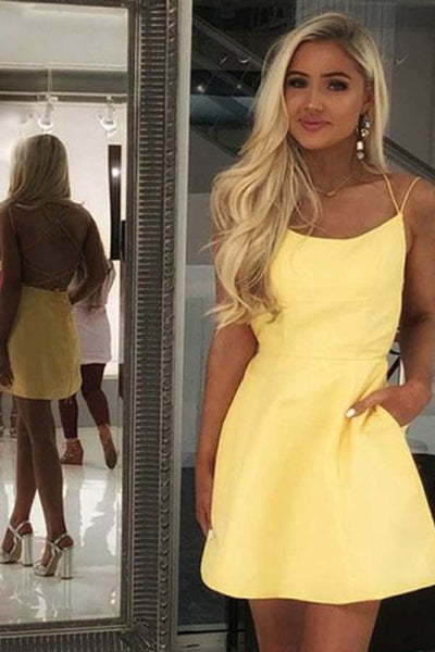Simple Yellow Satin A-line Spaghetti Straps Homecoming Dresses with Pockets, SH475