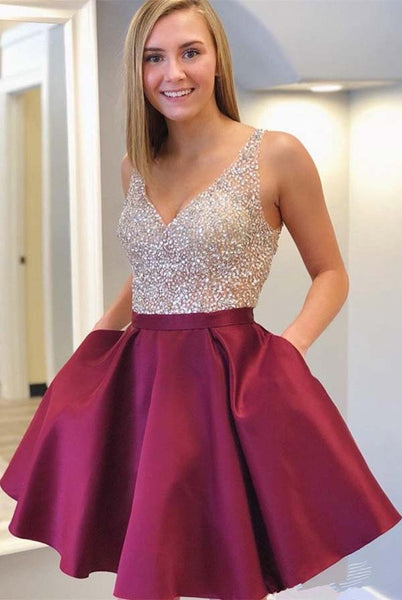 Cocktail V-neck Beaded Homecoming Dresses with Sequins, School Dance Dresses, SH476