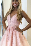 Pink A-line V-neck Above-Knee Length Beaded Homecoming Dress with Appliques, SH478