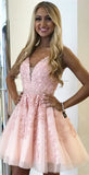 www.simidres.com | Pink A-line V-neck Above-Knee Length Beaded Homecoming Dress with Appliques, SH478