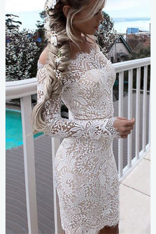White Lace Homecoming Dress for Teens, Affordable Sexy Short Prom Dresses, SH47