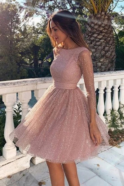 Charming Sparkly Long Sleeve Backless Homecoming Dresses Party Dress, SH480