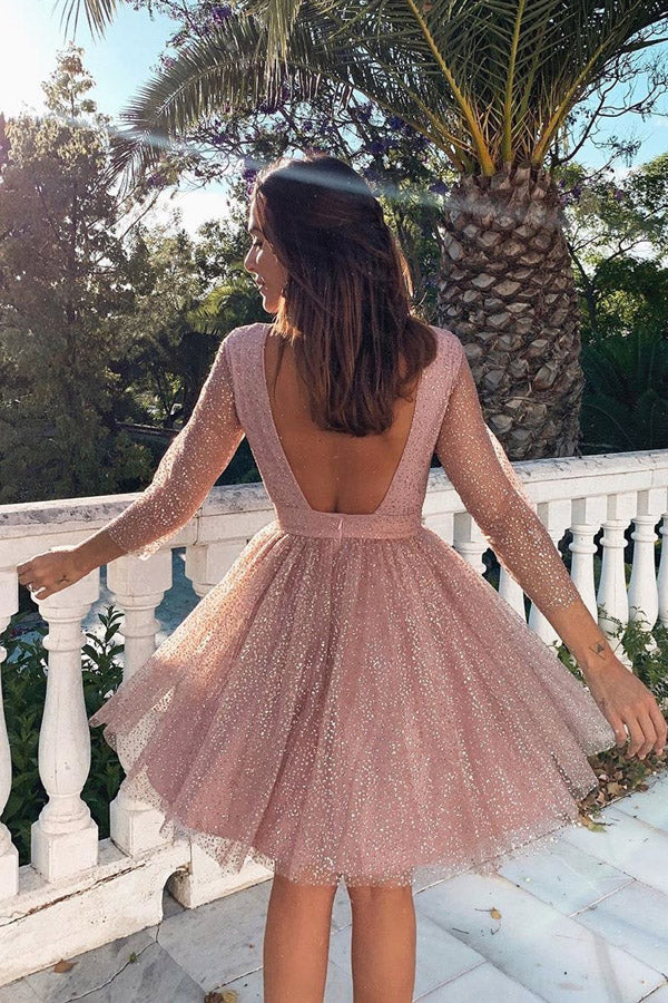 simidress.com offer Charming Sparkly Long Sleeve Backless Homecoming Dresses Party Dress, SH480