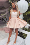 Cute A-line Satin Pink Homecoming Dresses Graduation Dress with Lace, SH482