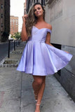 www.simidress.com offer Simple Pink Lace up Off-the-shoulder Homecoming Dresses Graduation Dress, SH483