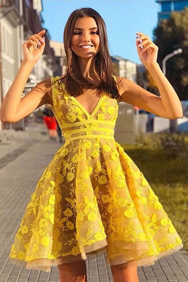 Yellow Lace A-line V-neck Short Party Dress Homecoming Dress with Appliques, SH486