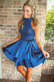 Chic Navy Blue High Neck A-line Rhinestone Homecoming Dresses Party Dress, SH488